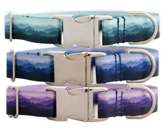 Mountain Landscape Dog Collar in Teal, Blue, and Purple
