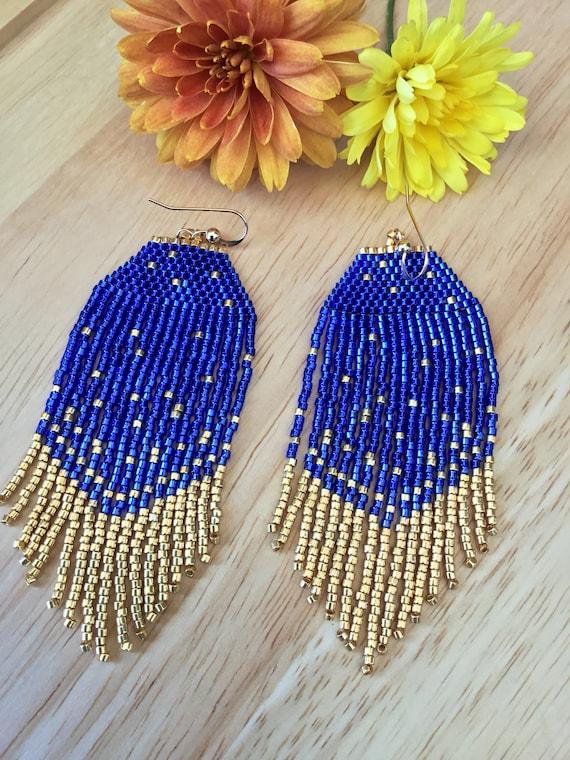 Mini Fringe Beaded Fringe Earrings Small Earrings Mini Earrings Blue Jewelry Blue Earrings Little Sky Fringe