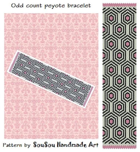 Peyote Pattern, Peyote beading bracelet, Cuff bead pattern, Seed bead bracelet, Miyuki Delica, Geometric pattern, PDF Instant download