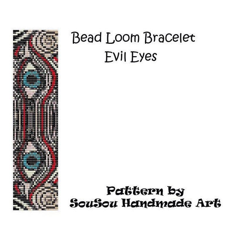 Evil Eyes Beading loom or Square stitch pattern beading image 0