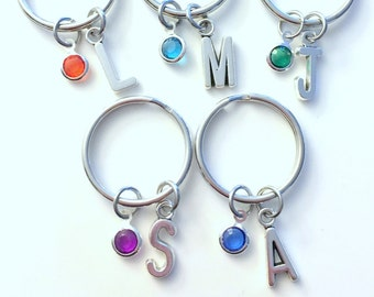 Bridesmaid KeyChain Set of 1, 2 3 4 5 6 Gift for GirlFriend BFF Keyring Birthstone Key Chain letter Initial Personalized Split Key Ring FOB