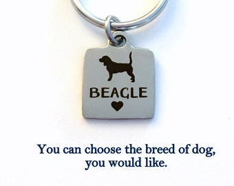 Dog KeyChain, Breeder Key Chain, Gift for Dog Mom Keyring Doggie Puppy Jewelry charm Silver Poodle Golden Lab present Man woman Boxer Beagle