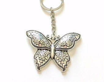 Butterfly KeyChain, Large Butterfly Keyring, Detailed Wings Animal Key Chain Silver Jewelry birthday present Gift for Teenage Girl Teen lady