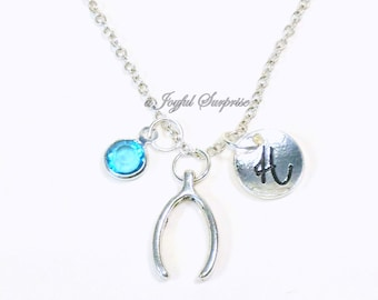 Wishbone Necklace, Wish Bone Jewelry, Good luck Charm, Gift for Teenage Girl Teen Teenager, Trendy Everyday initial birthstone Women her mom