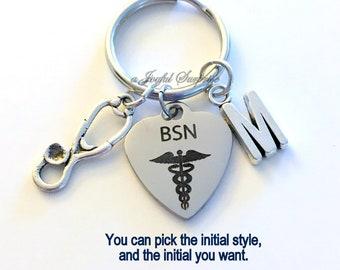 BSN Key Chain, Gift for BSN Nurse KeyChain, Nursing Keyring Man Men Male Woman Customized Initial Letter Monogram Birthday Christmas present