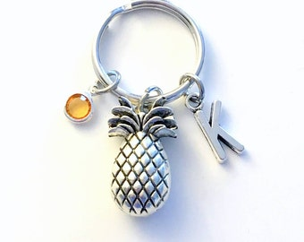 Gift for Fertility Good luck Keychain, TTC Pineapple Key chain, Pine apple Keyring, Fruit Silver Food initial birthstone her Personalized
