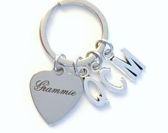Grammie KeyChain, Multiple letters Gift for Grandmother Key Chain Grandma Present Grammy Nana Granny Nanna Mimi Meme Initial 2 3 4 5 6 7 8 9