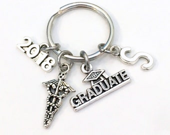 Graduation Gift for Laboratory Tech Keychain 2017 2018 Medical Doctor Caduceus Dr Boss Key chain Keyring with Initial letter Present Nurse