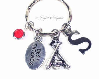 Baseball Keychain, Softball Key Chain, Base ball Bats and Ball Keyring, Best Friend BFF, Teammate Gift for with Initial birthstone teenager