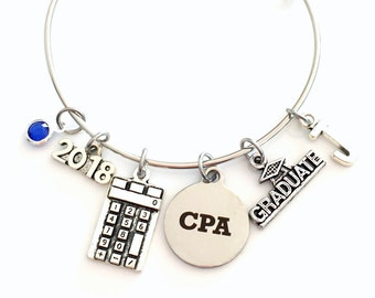 CPA Graduation Gift, 2017 2018 Charm Bracelet Chartered Accountant Grad present Accounting School Student Bangle Jewelry initial calculator