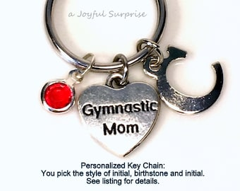 Gymnastic Mom Keychain, Silver Gymnast Keyring, Heart Key Chain, Gift For Mother's Day Jewelry Personalized Purse Charm Planner charm her