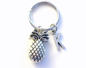 Pineapple Key Chain, Pine apple Keychain, Silver Fruit Keyring, Purse Charm Planner Food Gift Customized Personalized initial TTC fertility