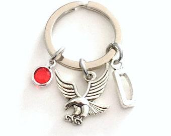 Eagle Keychain with initial, Key Chain for Man, Bald Eagle Key ring, American Eagle keyring, Flying Bird American Symbol Men Women Man Woman