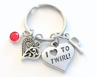 I love to Twirl Keychain, Gift for Daughter Key Chain, Baton Keyring Jewelry Initial letter present Majorette Twirling Dance Ballerina girl