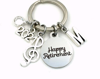 2021 Band Teacher Retirement Gift Keychain / Music Key chain / Treble Note Keyring / Coworker professor Musician Present  / Her Him Women