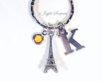 Eiffel Keychain, Personalized Eiffel Tower Key Chain, Paris Keyring Travel World Traveler initial birthstone her girl women teen boy girl