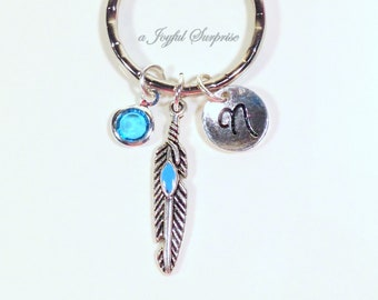 Feather Keychain, Native American Keyring, Silver Charm Pewter Peacowl Bird Pendant Key chain Purse charm Personalized Initial Birthstone