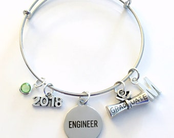 Engineer Graduation Bracelet, Gift for Engineering Student Jewelry 2018 Charm Bangle Silver initial Birthstone Personalized Custom Civil her