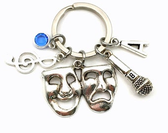 Theater Performer Singer Keychain, Drama Key chain, Sing Act Keyring, Performing Arts Gift for her Jewelry Theatre Initial Birthstone him