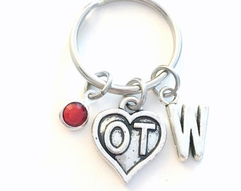 Gift for OT KeyChain, Occupational Therapist Therapy Heart Keyring Key chain Initial Birthstone Canadian Seller her men birthday under 20