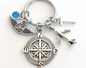 Airline Pilot KeyChain, Flight Instructor Key Chain, Recreational Air Plane, New Owner Keyring Initial Birthstone her women compass present