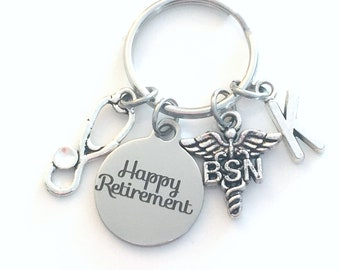 BSN Keychain Retirement Key Chain, Bachelor Science in Nursing Keyring, Nurse Caduceus, Initial letter her him women birthstone stethoscope