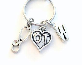 OT Keychain, Occupational Therapist Key Chain, Gift for OT Student Stethoscope charm Graduation Keyring initial letter custom man men women
