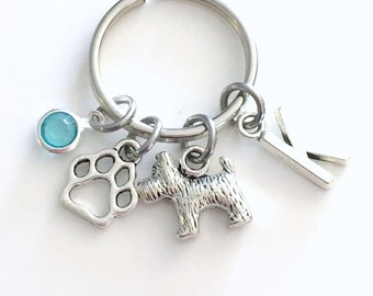 Scottie Dog Keychain, 10 Different Types of Puppy Charm Keyring, Toto Key Chain with initial birthstone Personalized Teenager Teenage Girl