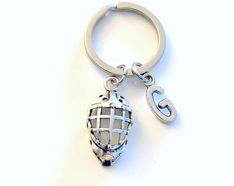 Hockey Goalie Keychain, Face Mask Key Chain Gift for Rugby Player Dad Helmet Keyring Silver Lacrosse Mom Key Chain Present Initial him her