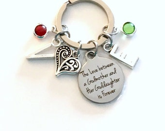 Gift for God Mother Keychain, The Love between a Godmother and a Goddaughter is Forever Key Chain, From Niece Keyring New Birthstone Initial