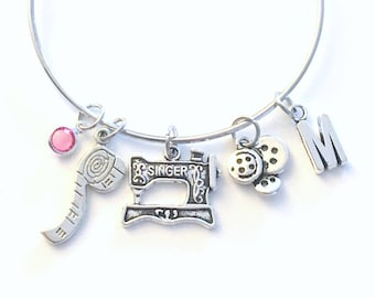 Gift for Seamstress Bracelet, Sewing Machine Charm Bangle, Mother's Day Present, Aunt Sister Grandma Jewelry Silver Birthday Button scissor