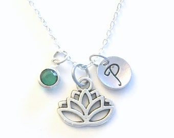 Lotus Necklace, Flower Jewelry, Silver Charm Pendant Monogram Personalized custom Initial Birthstone Buddhist and Egyptian culture enlighten