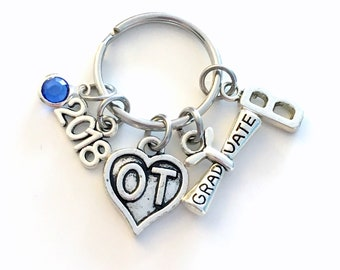 Occupational Therapist Keychain, Graduation Gift for 2018 Heart charm Therapy Key chain OT Keyring birthstone Initial letter for her women