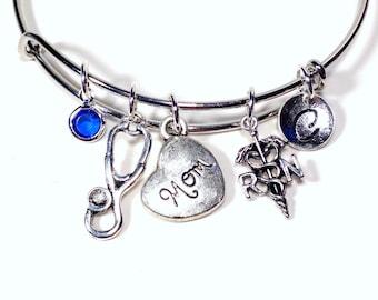 RN Gift, RN Charm Bracelet, Gift for Nurses Present, Nurses silver Jewelry, Bangle initial Birthstone Mom Aunt Grandma Niece Sister daughter
