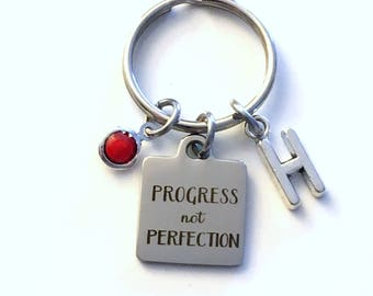 Progress not Perfection KeyChain, Gift for Al Anon Key Chain, AA Family Key Chain Keyring Jewelry Initial Birthstone present women her him