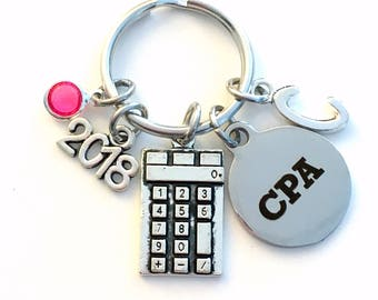 Graduation Gift for Accountant, Retirement CPA Key chain, 2018 2019 Chartered Professional Accountant Present Keychain birthstone present