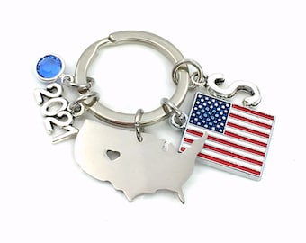 2021 US Citizen Gift Key Chain, Present for New USA Citizenship Keychain / Red, White and Blue Flag Keyring / Cut out shape American Map