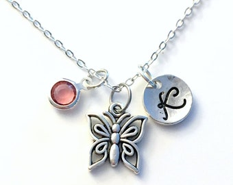 Butterfly Necklace, Flower Girl Jewelry, Silver Butter Fly Charm Gift for Girl Teenager Little Personalized initial birthstone Custom bug