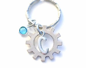 Steampunk KeyChain, Gear Steam Punk Key Chain Gift for Electronics Student Keyring Engineer initial Clock Cog personalized custom Auto man