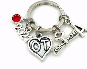 2021 Occupational Therapist Keychain / Graduation Gift for OT / OT Heart charm Therapy Key chain, Keyring for her or him women men