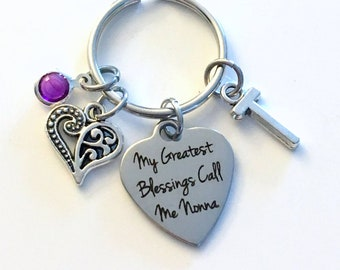 Gift for Nonna KeyChain, My greatest blessings call me Nonna Key Chain, Grandmother Keyring Jewelry Initial Birthstone present women her mom
