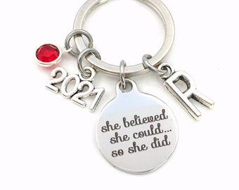 2021 Gift for Job Promotion Keychain, New Career Key Chain, She believed she could so she did can Stainless steel Canadian Seller Shop Etsy