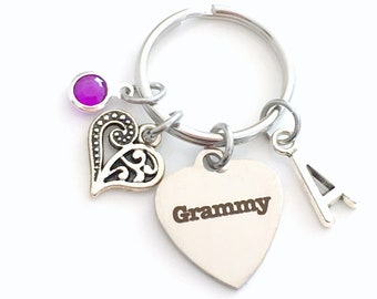 Gift for Grammy Keychain, Grammie Key Chain, Grandmother Keyring Jewelry Initial Birthstone present women her mom heart charm birthday women