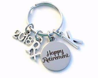 Retirement Gift for Pharmacist Keychain, 2017 2018 Pharm Technician Pharmacy Researcher, Rx Key chain with letter Initial Retire present man