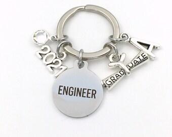 Graduation Gift for Engineering Student Keychain, 2021 Engineer Key Chain B Sc Eng Initial Birthstone Grad Present Graduate scroll women her