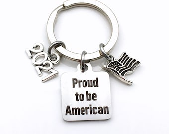 2021 Gift for Immigration Ceremony Keychain, New Citizen Key chain, Proud to be American keyring,  USA Present silver Flag Charm him men man