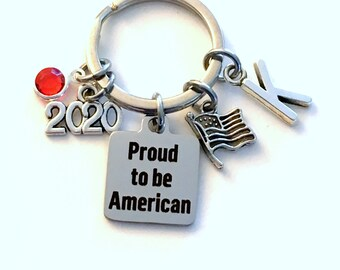 New Citizen Gift Keychain, Proud to be American, 2020 Key Chain for USA Keyring Present birthstone initial Flag Charm her women Patriotic