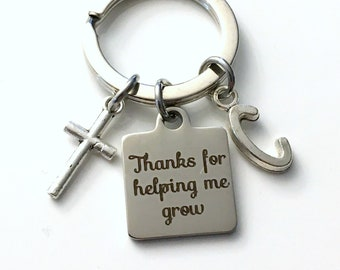 Gift for Religious Teacher Keychain, Catechism Instructor Present, Sunday School Key Chain, Cross Jewelry Thanks for helping me grow present