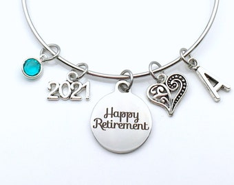 Retirement Gifts for Women Charm Bracelet / 2021 Happy Retirement Jewelry / Silver Bangle for Woman Mother Mom Aunt BFF / Heart Present