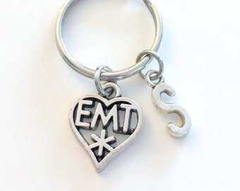 EMT Keyring with Initial, Paramedic Key Chain, Silver KeyChain Heart Charm, Gift for Men or Women Letter Monogram Dad Mom Him her Ambulance